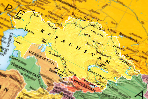 Kazakhstan Map of Kazakhstan. kazakhstan stock pictures, royalty-free photos & images