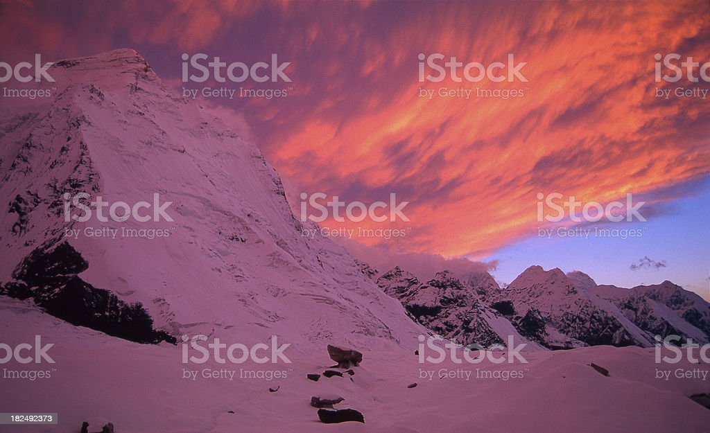 Kazakhstan. Sunset in the mountains Tien Shan. stock photo