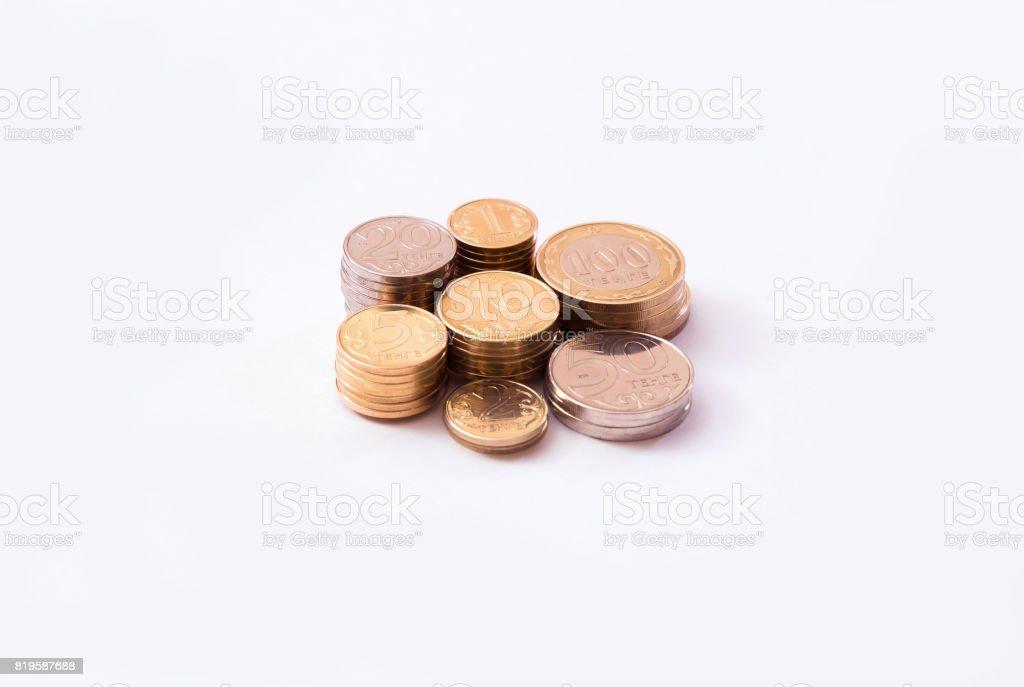 Kazakhstan tenge coins stock photo