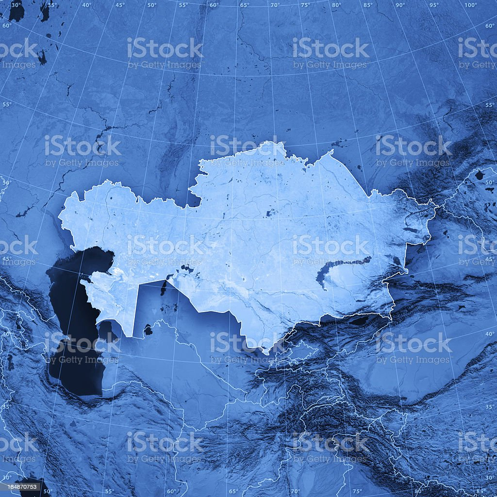 Kazakhstan Topographic Map royalty-free stock photo