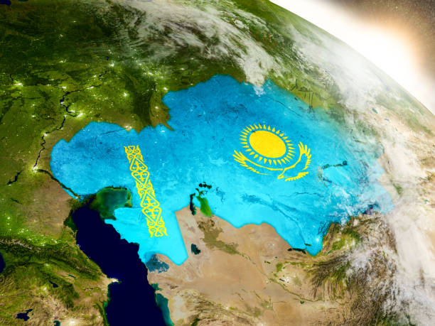 Kazakhstan with flag in rising sun stock photo