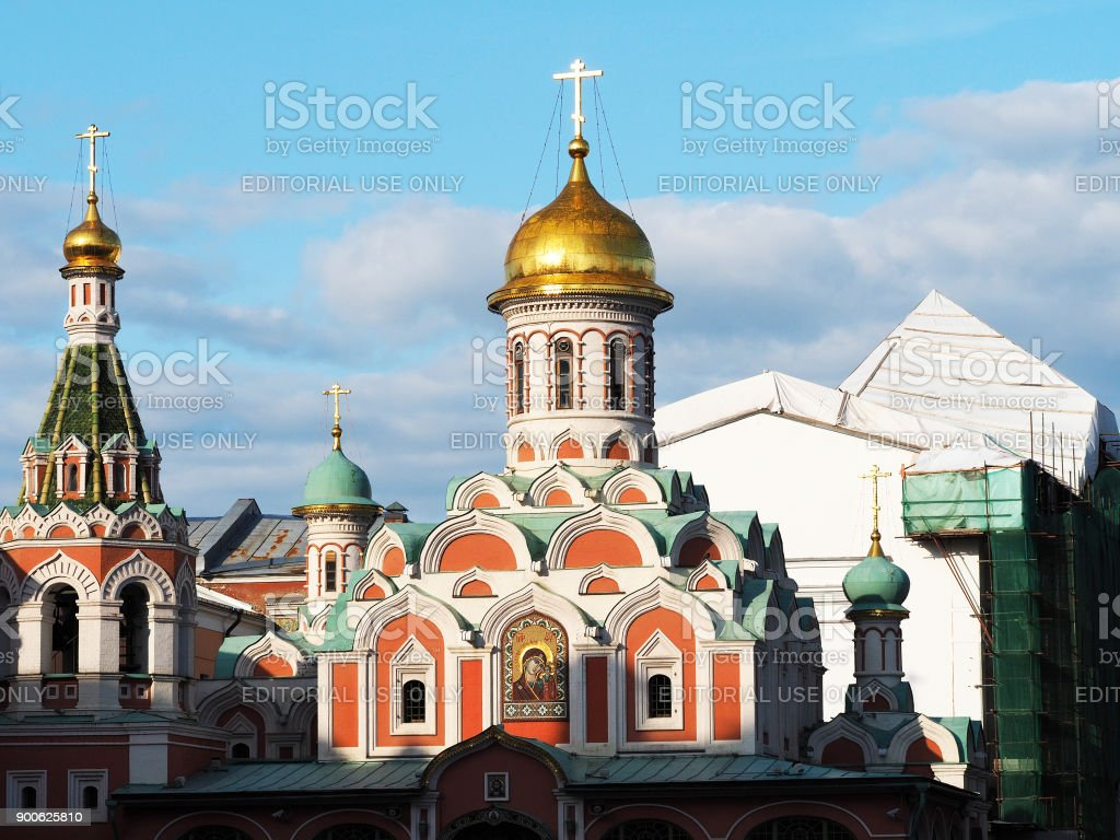 Kazan Cathedral on Red Square. The old mint. Nikolskaya street stock photo