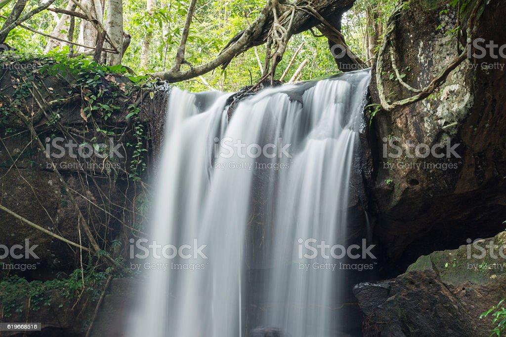 Kbal Spean waterfall in Siem Reap, Cambodia. stock photo
