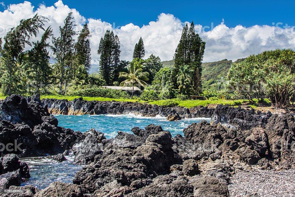 Keanae Peninsula, Maui Hawaii stock photo