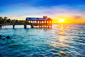 Pier at the beach in Key West, Florida USA