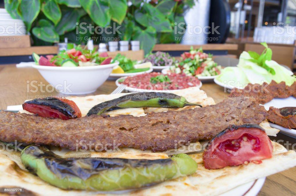 kebab and cigkofte menu stock photo