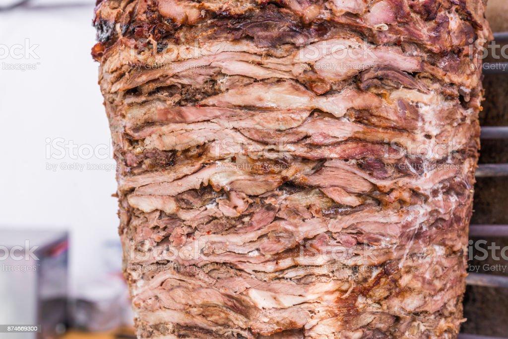 Kebab and grill shawarma meat at a street food market stock photo