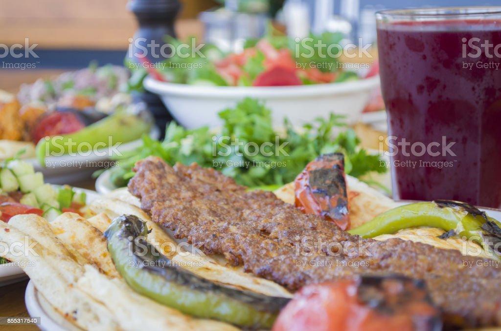 Kebab menu and salgam juice stock photo