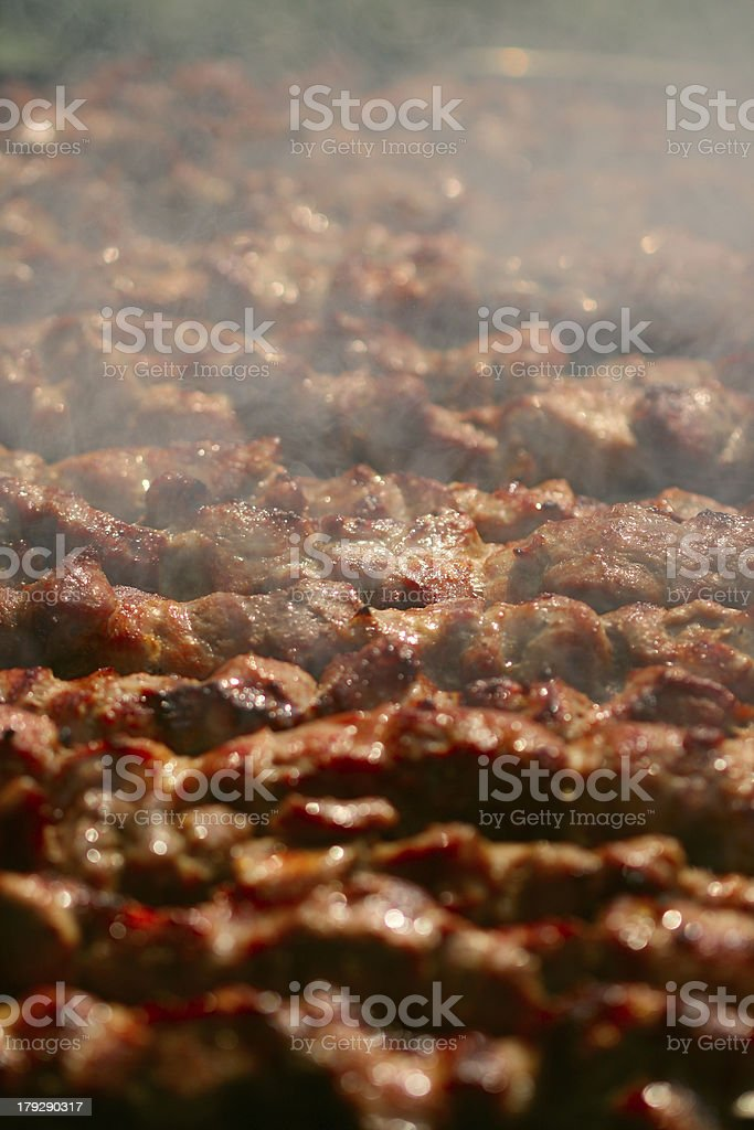 Kebab on the grill with smoke royalty-free stock photo