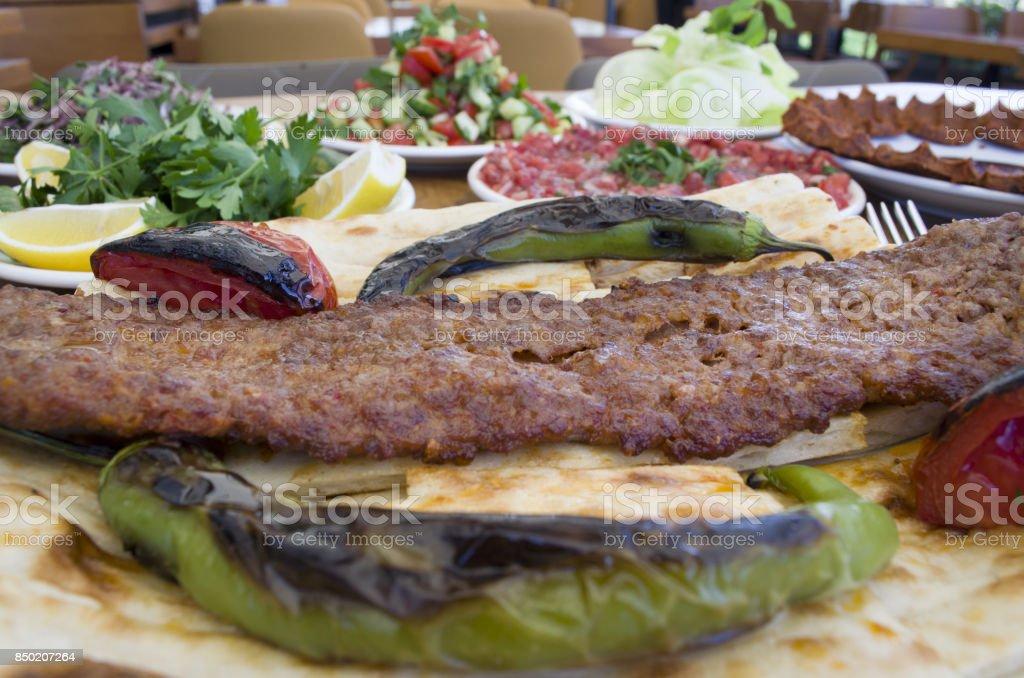 kebab plate, kebab menu stock photo