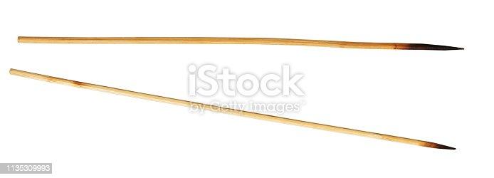 Used kebab sticks isolated on white background