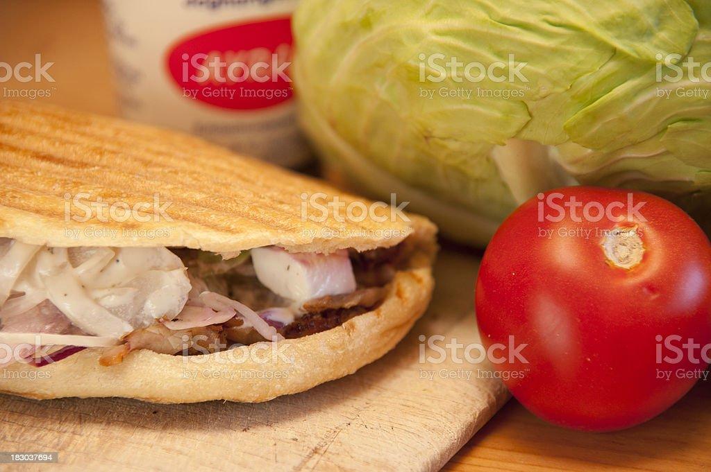 kebab with ayran on wood royalty-free stock photo