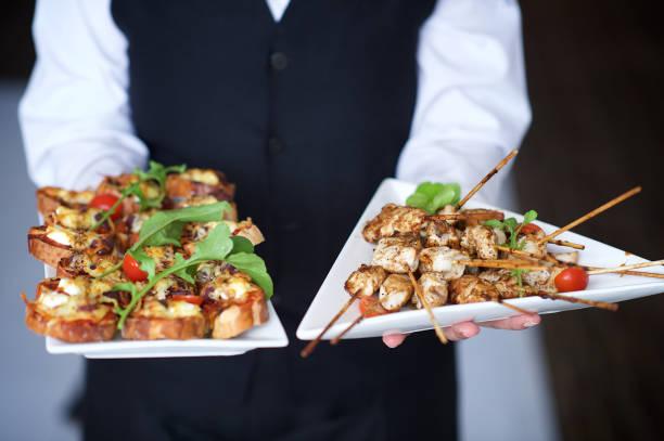 Kebabs and Bruschettas Canapés stock photo