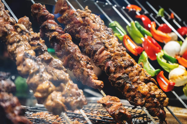 Kebabs on barbecue stock photo
