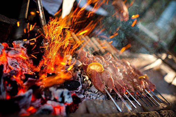 Kebabs on barbecue kebabs on barbecue. shallow dof and vibrant colors. spit roasted stock pictures, royalty-free photos & images