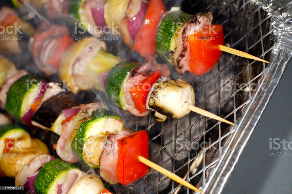 Kebabs on the bbq stock photo