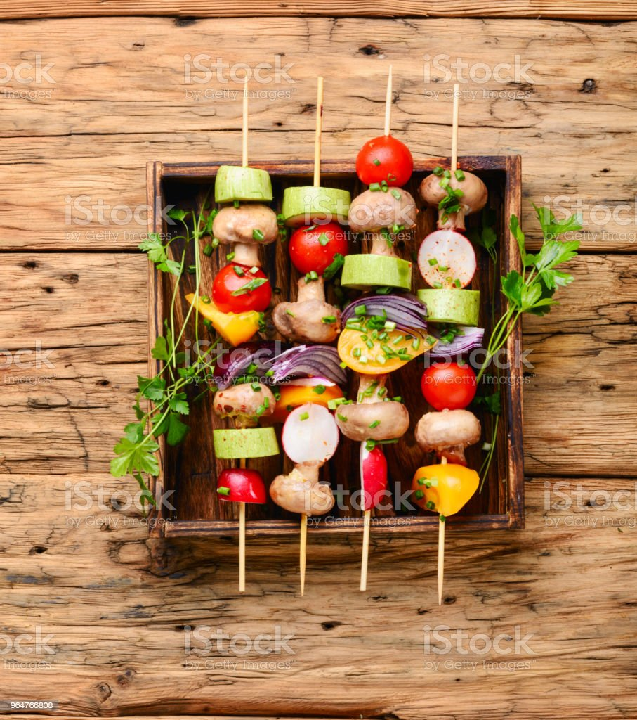 Kebabs,vegetables on skewer royalty-free stock photo