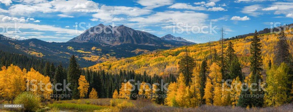 Kebler Pass panorama in autumn stock photo