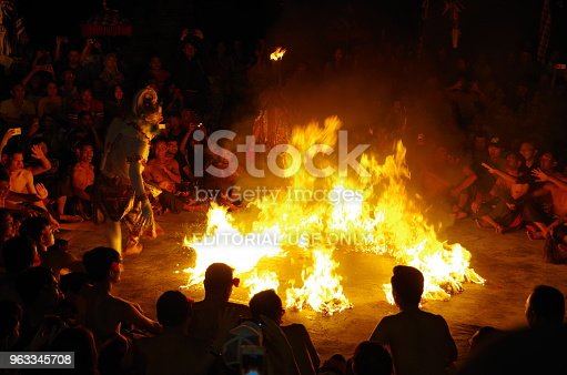 Uluwatu Bali, Indonesia - May 3, 2018: It is Uluwatu Temple (Pura Luhur Uluwatu) in Bali, Indonesia. Kecak dance is a traditional ritual of Bali. Kecak dance, more than 40 men raise rhythmical. 'Kecak! Kecak! Kecak!' It is one of Balinese dances that express Hindu myths in dancing.The god of white monkeys, Hanumann was thrown into the fire and burned ...The exciting scene continues.