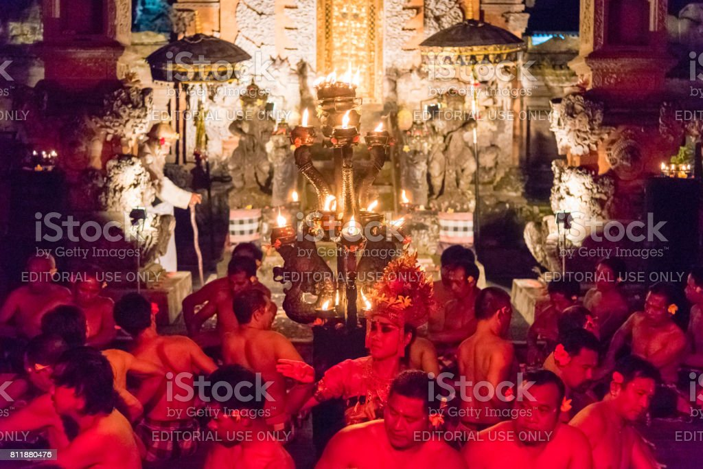 Kecak Fire and Trance Dance in Ubud, Bali stock photo