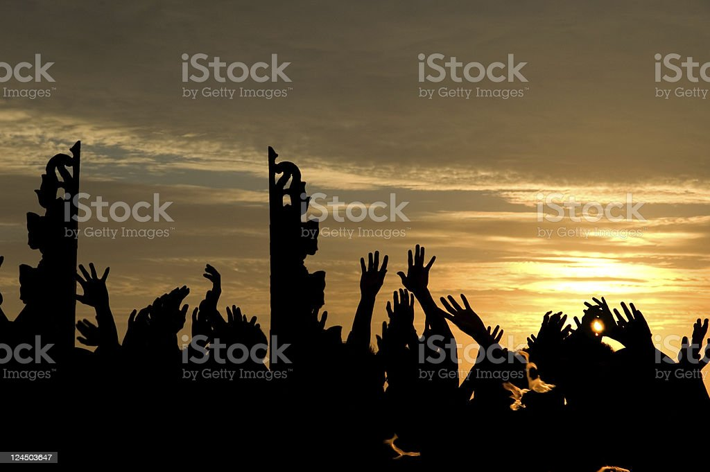 Kechak dance in sunset stock photo