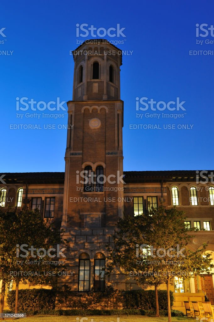 Keck Hall Tower in Rice University royalty-free stock photo