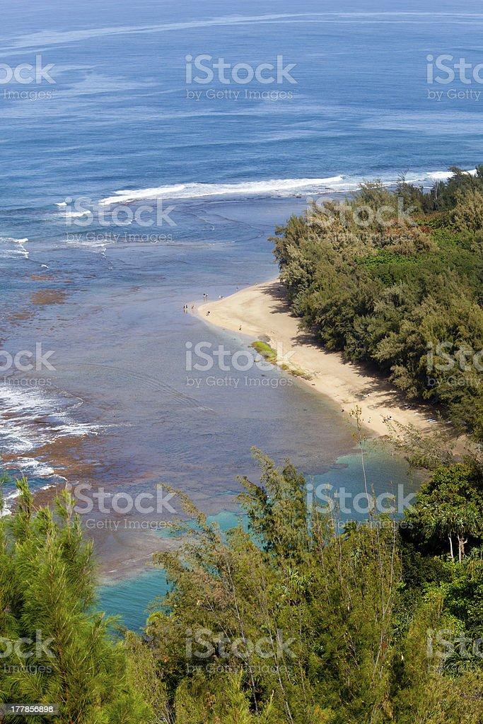 Ke'e beach on Kauai from trail stock photo