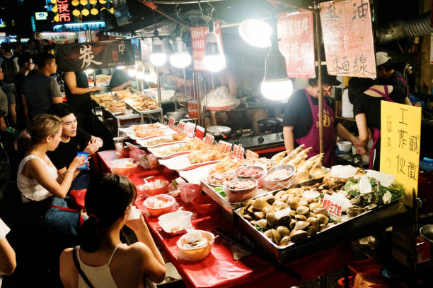 Keelung Night Market in Taiwan. Keelung, Taiwan - August 05, 2018 : Keelung Night Market in Taiwan. Keelung is one of the major Night Market in Taiwan. night market stock pictures, royalty-free photos & images