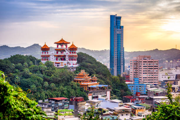 keelung, taiwan skyline - historic vs new stock photos and pictures
