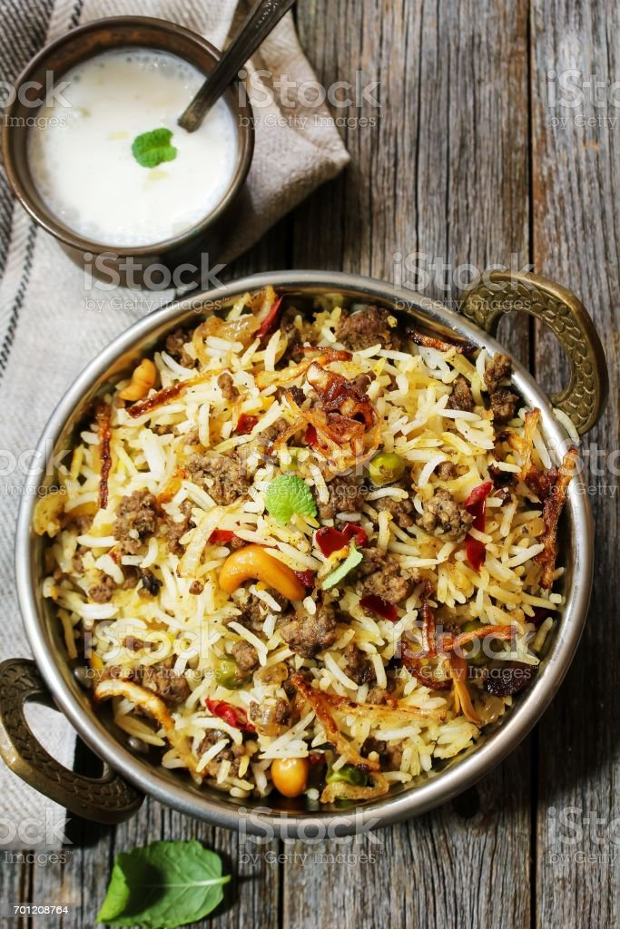 Keema /  Kheema  Biryani -Basmati rice cooked with minced meat and aromatic spices, selective focus stock photo
