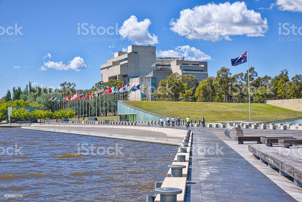 Keep active in Canberra and cycle round the lake. stock photo
