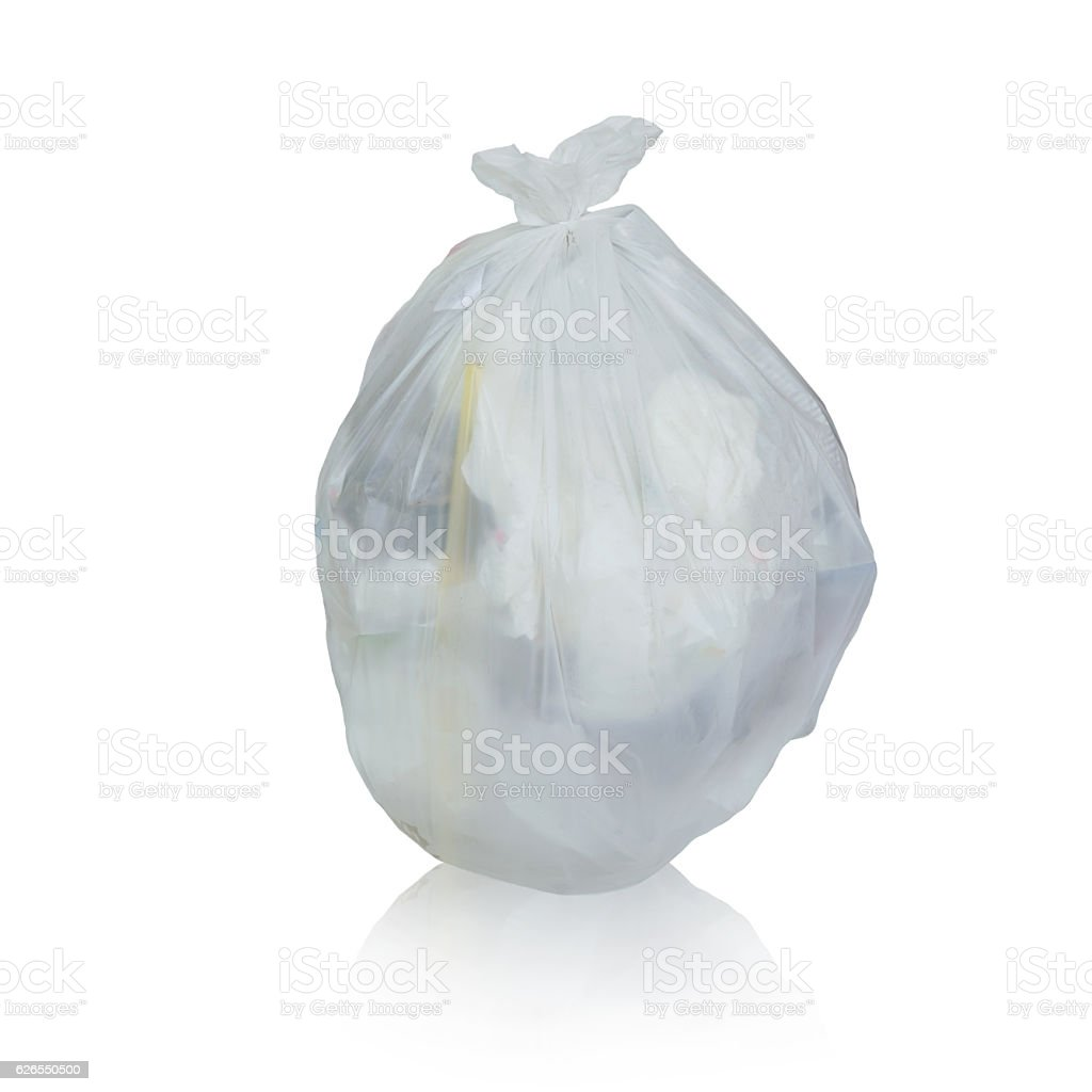Keep garbage in bag stock photo