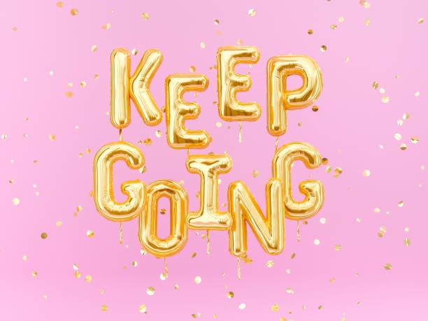 gehen sie – motivation positiven text rosa und gold banner - rosa zitate stock-fotos und bilder