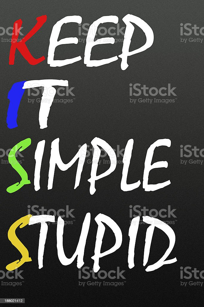 keep it simple stupid symbol stock photo