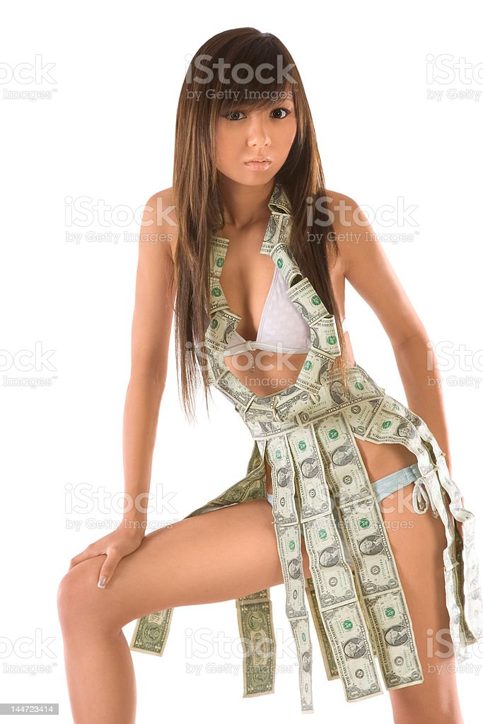 I keep my money with me! stock photo