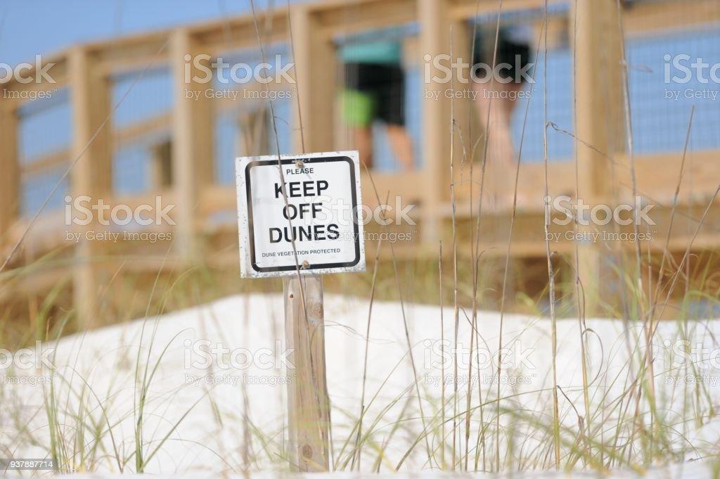 Keep of dunes sign stock photo