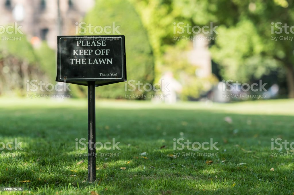 Keep Off Lawn Sign stock photo