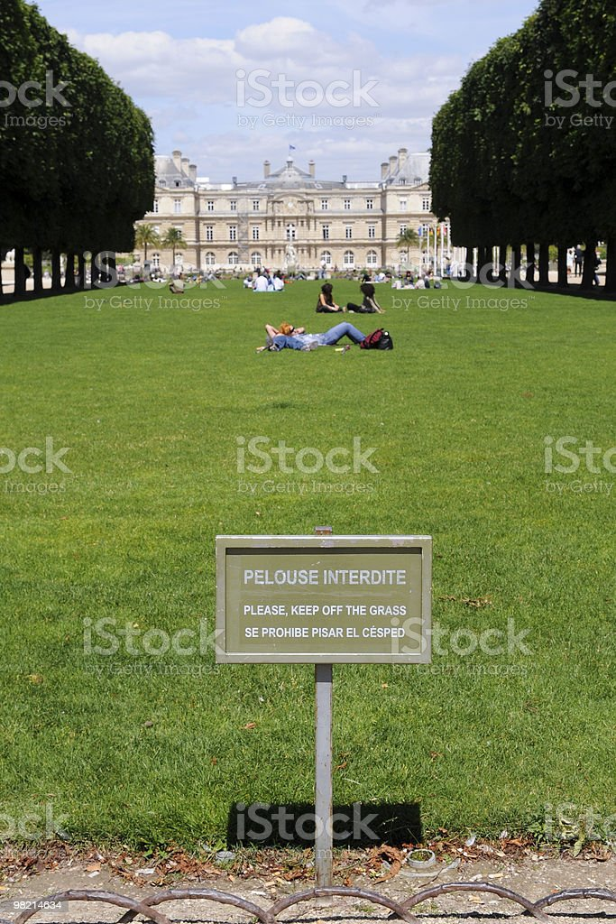 Keep off the grass sign royalty-free stock photo