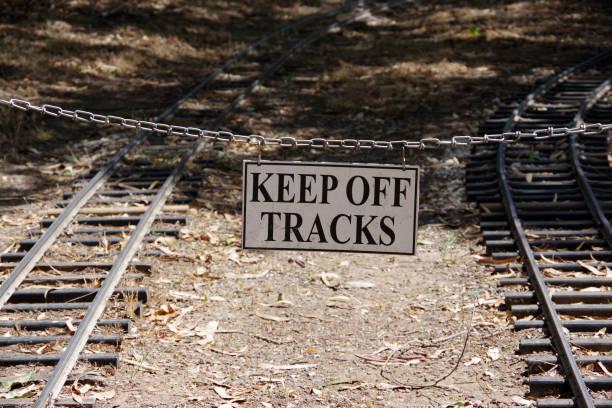 Keep Off tracks stock photo