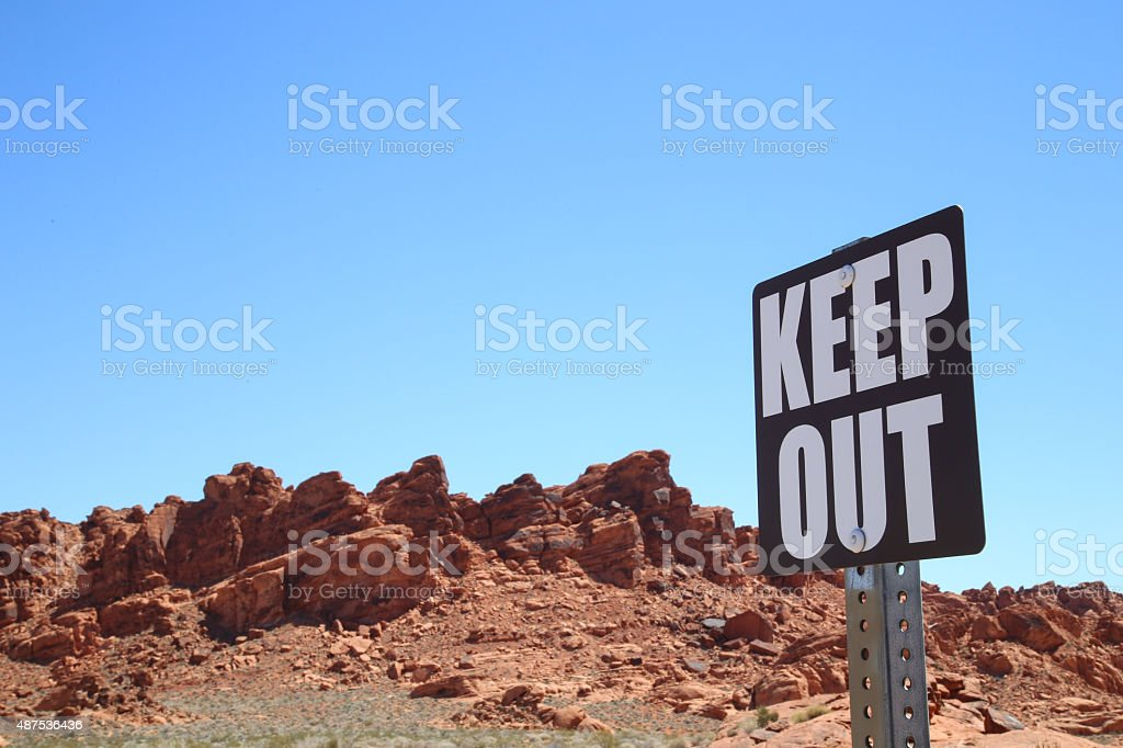 Keep Out Sign In Desert stock photo
