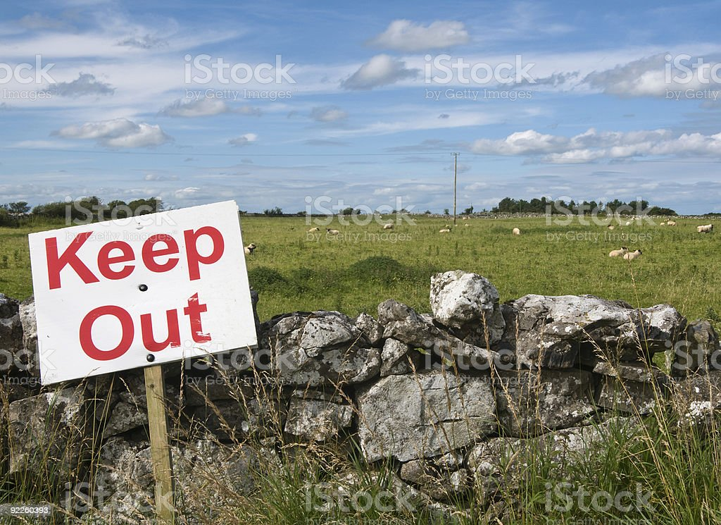 Keep out sign in Ireland royalty-free stock photo