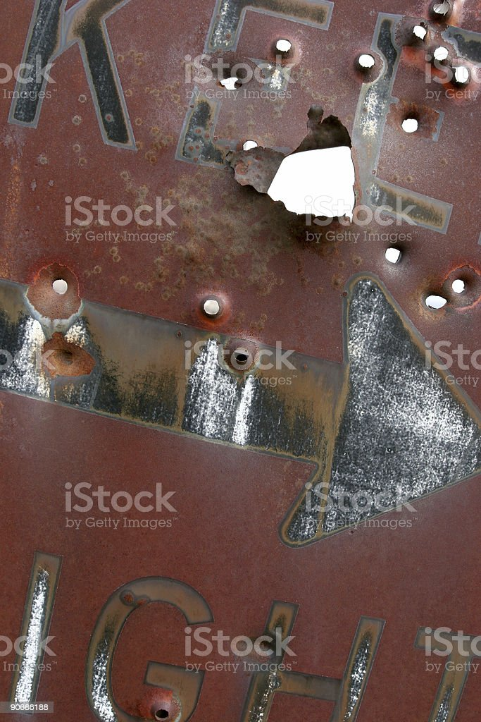 keep right - rust and bullets royalty-free stock photo