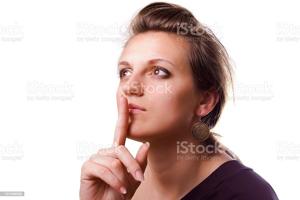 "keep silence attractive girl in the """"keep silence"""" pose Adult Stock Photo"