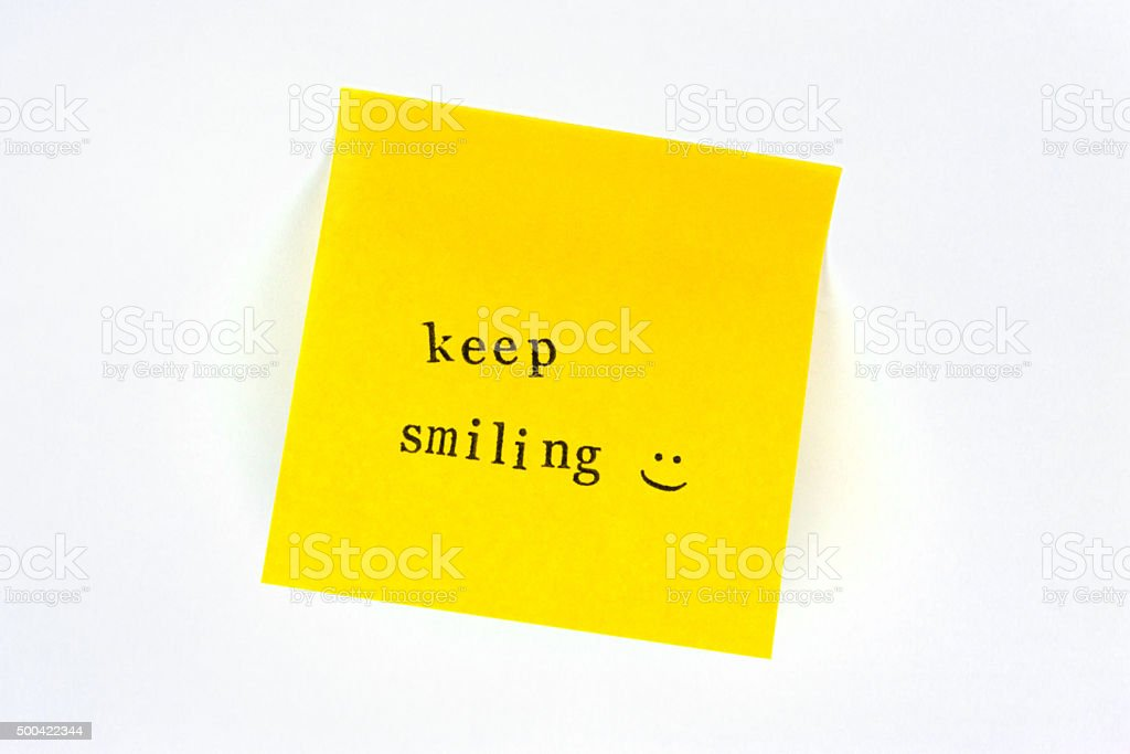Keep Smiling Post it stock photo