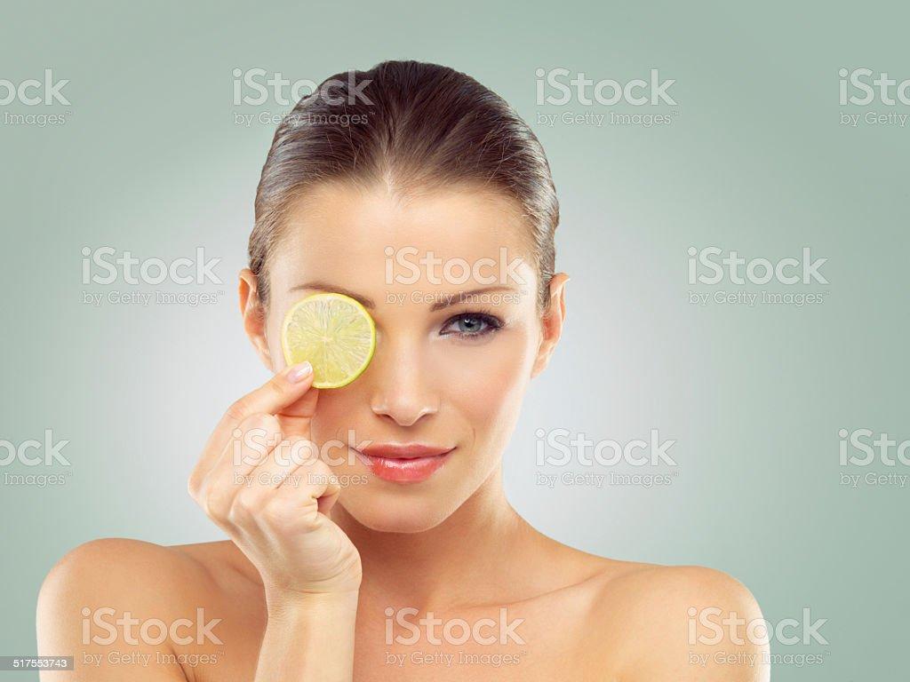 Keep your skin lemon fresh stock photo