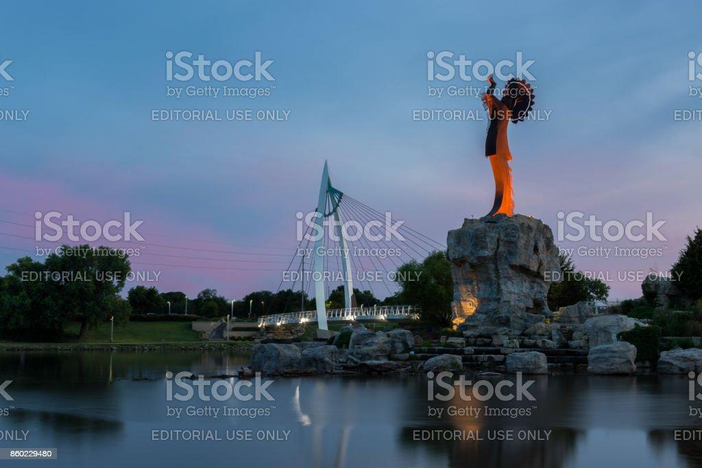 Wichita, Kansas, USA - August 13, 2017: Keeper of the Plains steel sculpture on the Arkansas River royalty-free stock photo