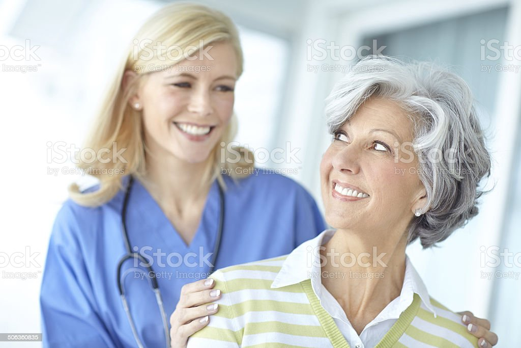 Keeping an eye on her health stock photo