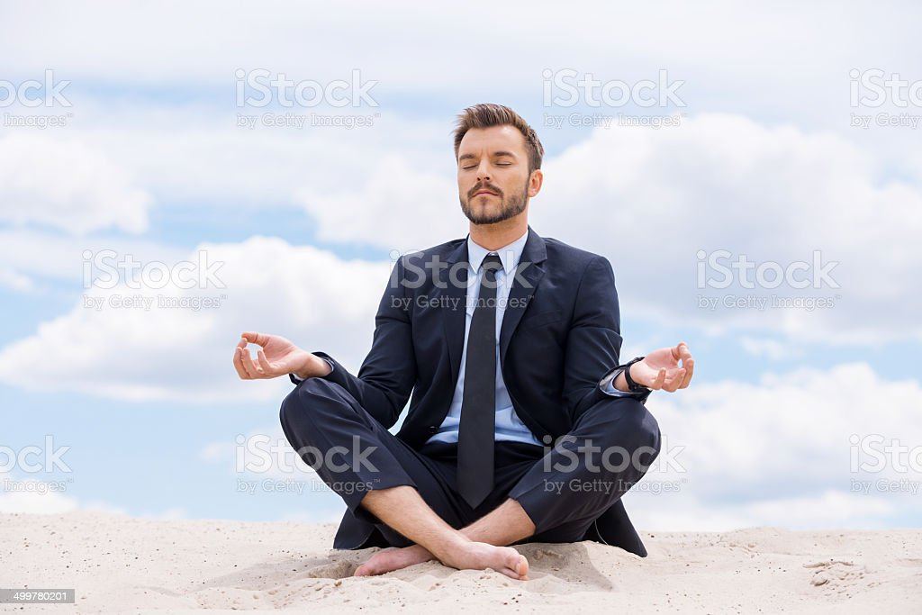 Keeping calm inside his soul. stock photo