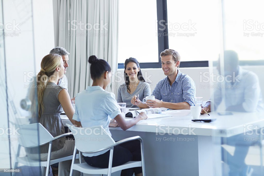 Keeping everyone up to date stock photo