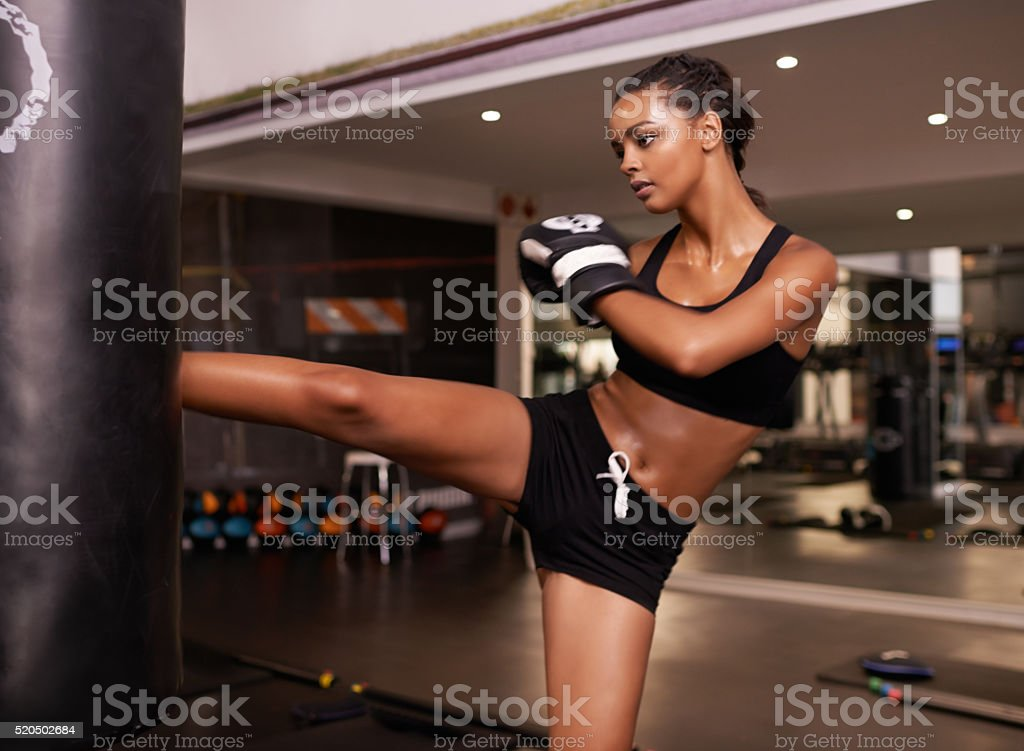 Keeping fit with self defence stock photo